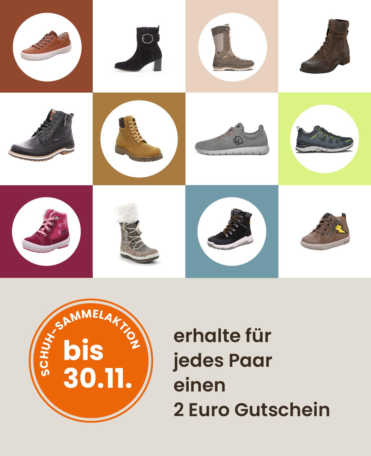 Schuhsammelaktion erhalte für jedes Paar einen 2 Euro Gutschein